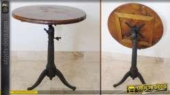 Table ronde ancienne en bois et métal à plateau basculant