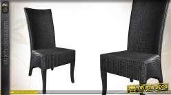Chaise de salle à manger en acajou et loom teinté noir