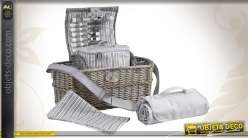 Panier pour pique-nique en osier gris avec accessoires