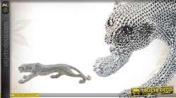 Léopard décoratif avec strass finition argentée