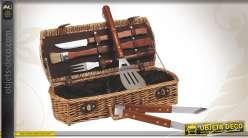 Coffret pour barbecue 5 accessoires avec panier en osier