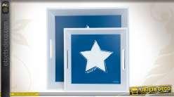 Série de 2 plateaux étoilés coloris blanc et bleu