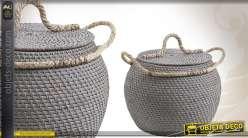 Panière en corde et en rotin en forme de boule