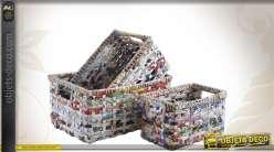 Trio de corbeilles multicolores en papier recyclé