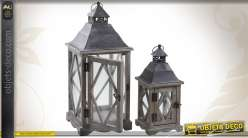 2 lanternes décoratives en bois et métal avec vitres en verre 56 cm