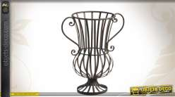 Vase déco ajouré en métal finition ancienne
