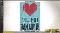 Porte-manteaux mural en bois Love you more