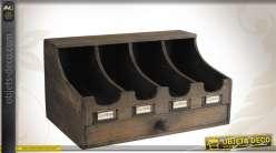 Range-couverts 4 casiers en bois finition vieillie