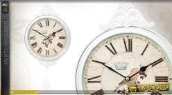 Horloge décorative en métal blanc avec pendule