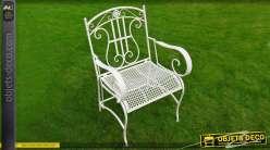 Fauteuil de jardin en métal et fer forgé coloris blanc antique
