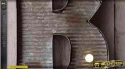 Décoration murale en métal Lettre B avec éclairage LED