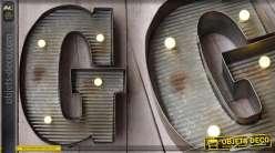Décoration murale en métal Lettre G avec éclairage LED
