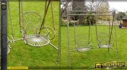 Balancelle à deux sièges en métal coloris marron antique