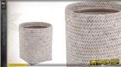 Corbeille à papier Ø 25 cm en bambou patiné blanc
