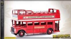 Miniature décorative ancien autobus à impériale anglais 32 cm