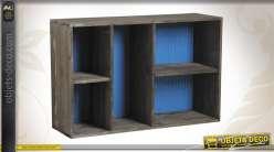 Etagère en bois patiné noir et en zinc coloris bleu