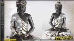 Grande statuette de bouddha finition argentée 73 cm
