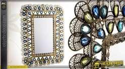 Miroir strass déco en métal avec ocelles translucides multicolores