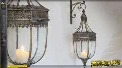 Lanterne murale avec support finition laiton doré ancien