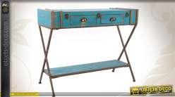 Console en bois et métal style rétro en forme d'anciennes malles