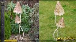 Champignons décoratifs en métal coloris marron / beige 100 cm