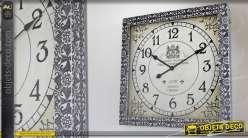 Horloge décorative murale carrée noir et argent 60 x 60 cm