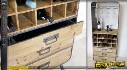 Meuble cave à vin de style industriel en bois et métal