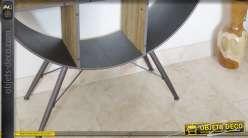 etag re murale ronde bois et m tal style r tro et indus 80 cm. Black Bedroom Furniture Sets. Home Design Ideas