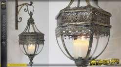 Lanterne murale 62 cm avec support finition laiton doré ancien