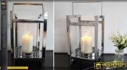 Lanterne moderne en métal argenté brillant poli 43 cm
