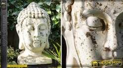 Tête de bouddha 50 cm en métal finition blanc antique