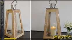Grande lanterne moderne en bois et métal chromé 56 cm