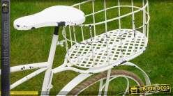 Jardinière vélo porte-plantes rétro patine blanc antique 103 cm