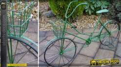 Jardinière décorative en forme de vélo ancien coloris vert 78 cm