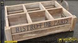 Caisse en bois à six compartiments style rétro 50 cm