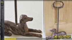 Bloque-porte fonte avec poignée et statuette chien coloris marron