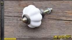 Bouton de tiroir ou de porte en métal et porcelaine coloris blanc
