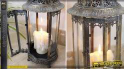 Grande lanterne 61 cm forme hexagonale finition bronze antique