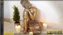 Grande statuette de bouddha assis finition dorée 66 cm