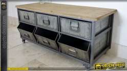 Console de style indus en bois et métal avec 3 bacs et 3 tiroirs