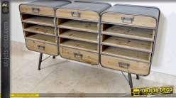 Grande console de style industriel rétro en bois et métal