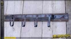 Portemanteaux en bois et métal style déco brocante à 4 patères