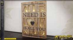 Tableau en bois avec éclairage LED : All you need is love 55 cm