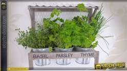 support bois avec jardini re 3 pots en zinc ancien. Black Bedroom Furniture Sets. Home Design Ideas