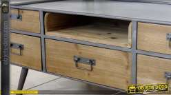Grand miroir rond 80 cm r tro et industriel bois et m tal for Table basse bois metal industriel