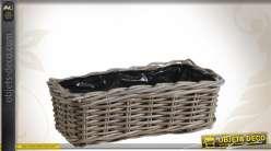 Jardinière en poelet gris avec doublure plastique