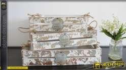 Série de 3 caisses en bois de style rétro avec écussons