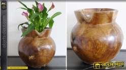 Vase artisanal sculpté en teck 30 cm