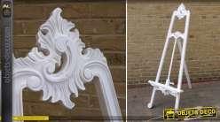 Grand chevalet de peintre blanc antique sculpté à la main 170 cm