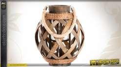 Lanterne en bois et cordages à poser ou à suspendre